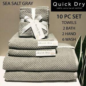 SET OF 10 QUICK DRY 100% Zero Twist Cotton Wash Hand Bath Towels Sea Salt Gray