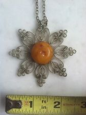 Vtg Old Baltic 26.5g Amber Necklace Natural Butterscotch Egg Yolk Antique Noveau