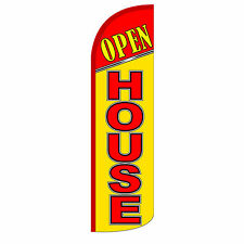 Open House Yellow Windless Advertising Sign Feather Flag Only Banner 30% Wider