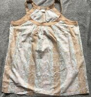 TOMMY BAHAMA UK 16 18 US L SLEEVELESS TOP BEIGE FLORAL PASTEL HOLIDAY BEACH