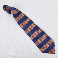 "Tommy Hilfiger Blue Red Striped Paisley 100% Silk Tie 57 1/2"" Long 4"" Wide NWOT"