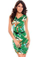 Verde Plumas Y Cadenas Capucha Cuello Vestido-sin mangas con escote volcado