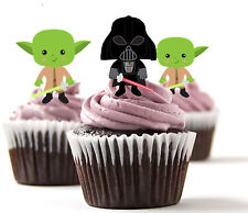 ✿ 24 Edible Rice Paper Cup Cake Topper, decorations - Starwars ✿