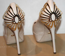 SERGIO ROSSI BUTTERFLY PLAQUE PLATFORM PUMP in NUDE / GOLD sz 37 1/2  $1495