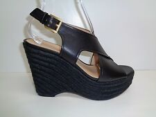 Michael Kors Size 6 M ANGELINE Black Leather Wedge Sandals New Womens Shoes