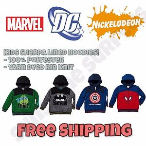 Marvel, DC, Nickelodeon - Boys Sherpa Lined Full Zip Hooded Sweaters - NWT