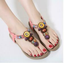 Summer Korean Fashion Women's Bohemian Flatbed Beaded Elastic Band Sandals HOT