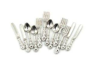 Doll House Accessories 1:12th Miniature 1 Set for 4 People Cutlery Silver Set