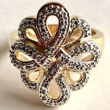 Diamond Accent Knot Ring Sz 7 14K Yellow Gold Vermeil Over Sterling Silver 925