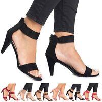 Women Kitten Mid Heel Ladies Ankle Strap Sandals Zipper Casual Shoes Size 5.5-10