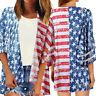 Women American Flag Cardigan Mesh Panel Blouse 3/4 Bell Sleeve Loose Top Shirt E