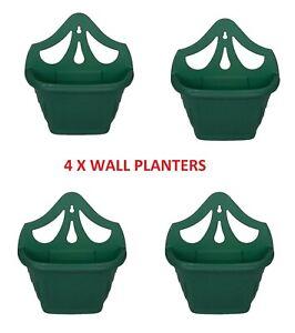 4 X 31cm GREEN VENETIAN WALL HANGING PLANTER FLOWER POT PLASTIC GARDEN OUTDOOR