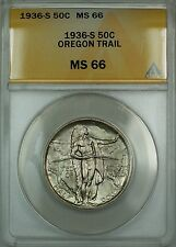 1936-S Oregon Trail Silver 50c Commemorative Coin ANACS MS-66 Lightly Toned DGH