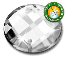 40 Strass-Steine zum Aufnähen, 20 mm, Crystal (aus Acryl) Schachbrett-Muster