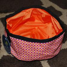 Barker & Meowsky Collapsible Pet Dish Travel Bowl Hot Pink Orange Cat Dog NWT