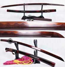 "41""Japanese Samurai Sword Katana Black&Red folded steel Clay Tempered full tang"
