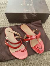 Womens Red Gucci Sandal Shoes. Size 37