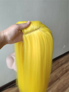 24inch Cosplay wig no lace  Women Heat resistant hair Yellow Daily use Fashion