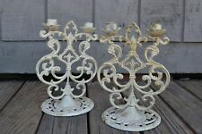 Old World Tuscan French Chic' Style Candelabras Decorative Matching Pair