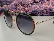 🔥 Gucci Gg0061S 003 Gold Red Green Round Frame Gray Lens Unisex Sunglasses