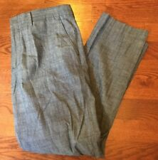 J.Crew Slim Bedford 100% Cotton Blue Casual Flat Front Pants Men's Size 35 x 32
