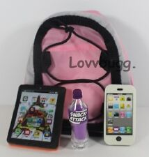 """Backpack Tablet Phone Soda Set for 18"""" American Girl Doll Making it More Fun!"""