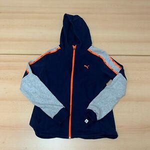 Puma Hoodie Womens Size 12 Blue Hooded Full Zip Up Logo Sweater