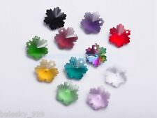 100pcs Snowflake Faceted Crystal Glass Charms Pendants Loose Beads 14mm Mixed