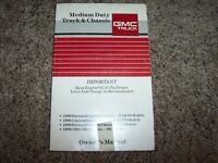 1990 1991 GMC Truck Bus Chassis Owner Owner's User Guide Operator Manual B6