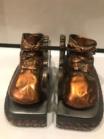 VINTAGE PAIR OF COOPER BRONZED BABY SHOE BOOKENDS - HEAVY!