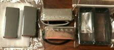 Set Of Two Chrome 4-Wire Mini Humbuckers With Extra Chrome Covers & Black Rings