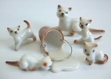 * Lot 5 Hand-Painted Miniature Ceramic Cats Kittens with milk bucket Figurines*