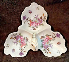 VINTAGE Lefton 3 Section Dish w/Handle Hand Painted Flower Butterfly Design