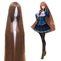 "59"" Women 150cm Super Long Straight Cosplay Wig Light Brown Bangs Anime Hair"