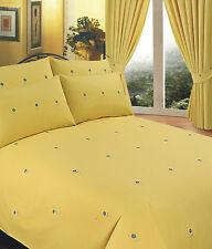 Empereur Taille lit floral jaune set Housse de couette 7FT Brodé marguerite
