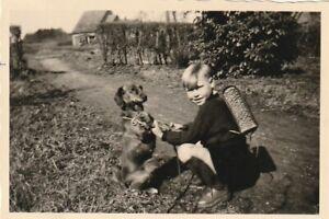 Fot0 Hübscher Junge mit Hund Dackel