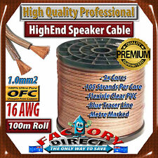 100M Roll HQ Professional 16AWG Gauge 1.3mm2 100% Pure Copper OFC Speaker Cable!