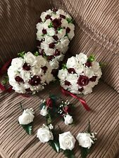 Wedding Flowers Bride's Package Bouquet Burgundy & White &Gyp Pearls & Brooches