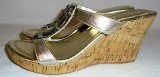 CONVERTIBLES, LADIES GOLD LEATHER WEDGE HEEL SANDAL, SIZE  7 M