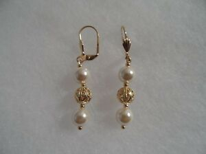 18 kt Gold Filled with Ball and Faux Pearl  Earrings (6587)