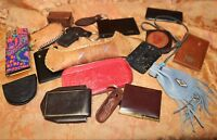 Large Lot of Vintage Leather Accessories Key Chains Wallets Embossed Bags