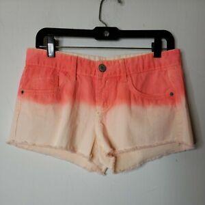 Mossimo Juniors Denim Shorts Size 9 Orange Coral Peach Ombre' Cut Off