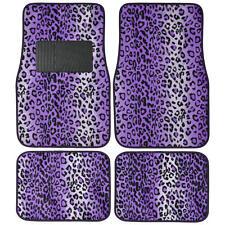 Leopard Purple Car Floor Mats Carpet Cushion 4 PCS Full Set - Rubber Backing