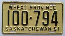 Saskatchewan 1951 License Plate HIGH QUALITY # 100-794