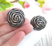 Vintage Large Silver Tone Swirl Flower Style Clip On Earrings