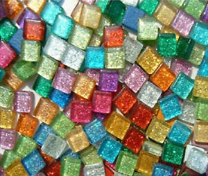 Assorted Mixed Colors Glitter Glass Mosaic Tiles - 3/8 inch - 100 Tiles