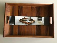 NEW Acacia Wooden Serving Tray Drinks Party Entertaining Dinner Bar Snack Lap TV