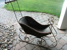 Wicker & Metal Victorian Sleigh - Antique - Doll Sleigh