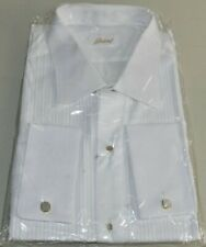 NEW BRIONI White Tuxedo SHIRT w Gold STUDS 17 3/4 45 FRENCH CUFF
