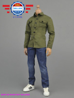 "【FREE SHIPPING】1/6 GREEN Long Sleeves Shirt Blue Jeans for 12"" MALE Figure"